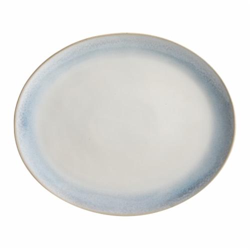 Martha Stewart Oval Platter - White/Blue Perspective: front