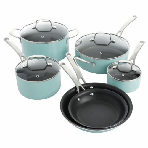Martha Stewart Enamel Cookware Set - Martha Blue Perspective: front