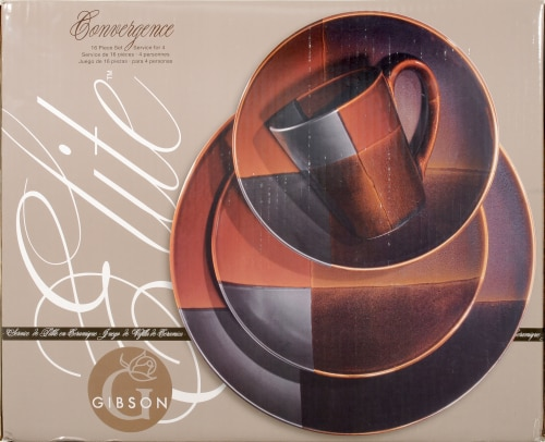 Gibson Convergence Elite 16-Piece Dinnerware Set Perspective front & Fred Meyer - Gibson Convergence Elite 16-Piece Dinnerware Set