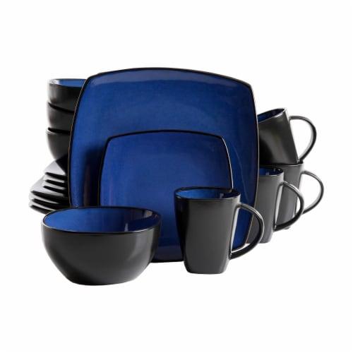Gibson Elite Soho Lounge 16 Piece Plates, Bowls, & Mugs Dinnerware Set, Blue Perspective: front