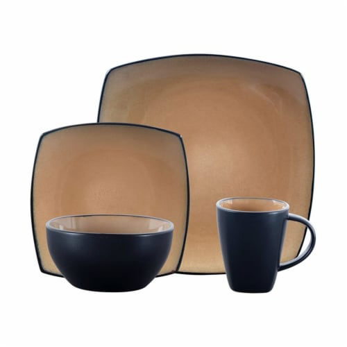 Gibson Soho Lounge 16 Piece Square Dinnerware Plates, Bowls, and Mugs Set, Taupe Perspective: front