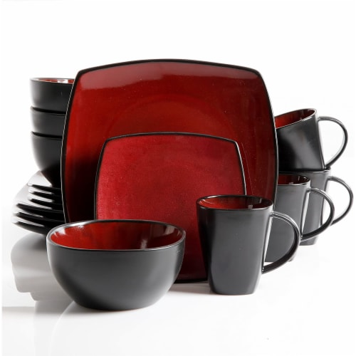 Gibson Soho Lounge Dinnerware Set - Red/Black Perspective: front