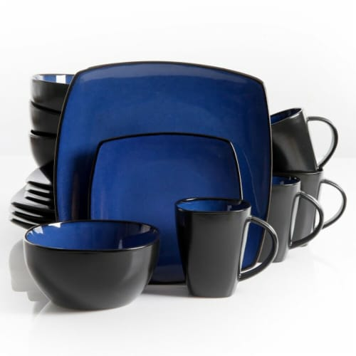 Gibson SoHo Lounge Square Dinnerware Set - Blue/Black Perspective: front