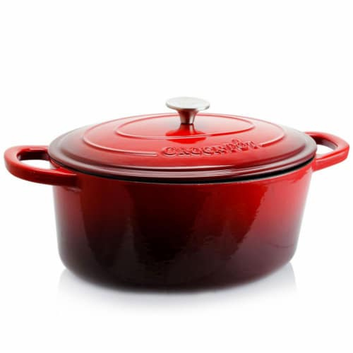 Crock-Pot 7 Quart Oval Enamel Cast Iron Covered Dutch Oven Slow Cooker, Red Perspective: front