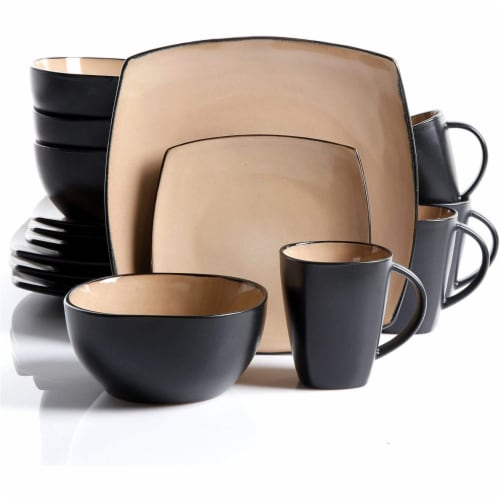 Gibson Boutique Beautiful Soho Lounge 16 Piece Reactive Glaze Dinnerware, Taupe Perspective: front