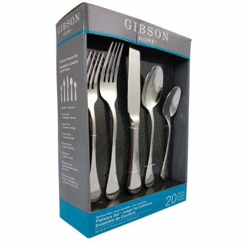 Gibson Home Manchester Classic Stainless Steel Flatware Silverware Set, 20 Piece Perspective: front
