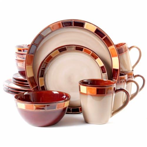 Gibson Elite Casa Estebana Dinnerware Set - White/Brown Perspective: front
