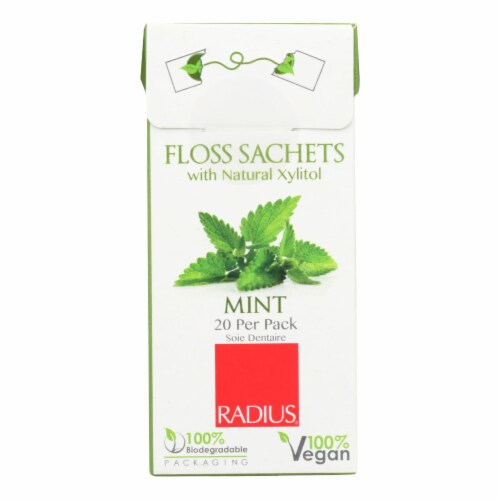 Radius - Floss Sachets with Natural Xylitol - Mint - Case of 20 Perspective: front