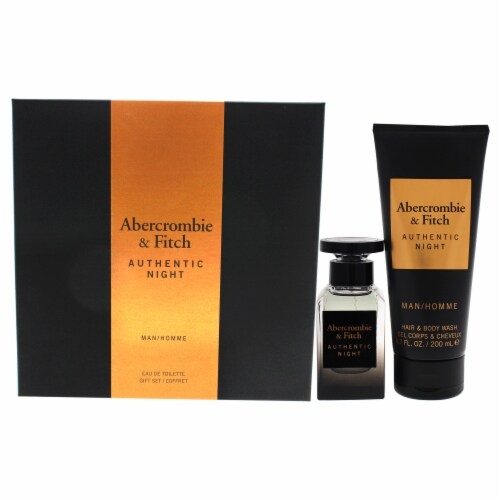 Abercrombie & Fitch Authentic Night 1.7oz EDT Spray, 6.7oz Hair and Body Wash 2 Pc Gift Set Perspective: front