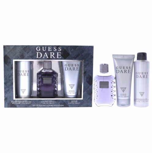 Guess Guess Dare 3.4oz EDT Spray, 6.0oz Deodorizing Body Spray, 6.7oz Shower Gel 3 Pc Gift Se Perspective: front