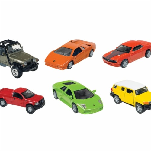 Toysmith 04868 4.5 in. Assorted Styles Die-cast Pull-Back Fresh Metal Power Racers Perspective: front