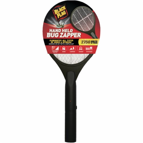 Black Flag Handheld Bug Zapper Racket - Black Perspective: front
