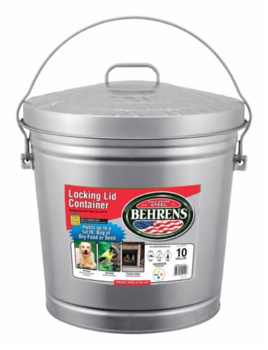 Behrens 10 gal. Galvanized Steel Garbage Can Lid Included Animal Proof/Animal Resistant - Perspective: front