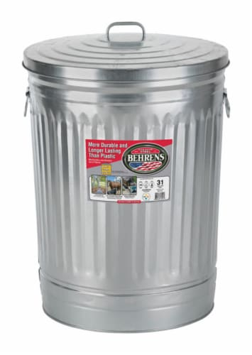 Behrens 31 gal. Galvanized Steel Garbage Can Lid Included Animal Proof/Animal Resistant - Perspective: front