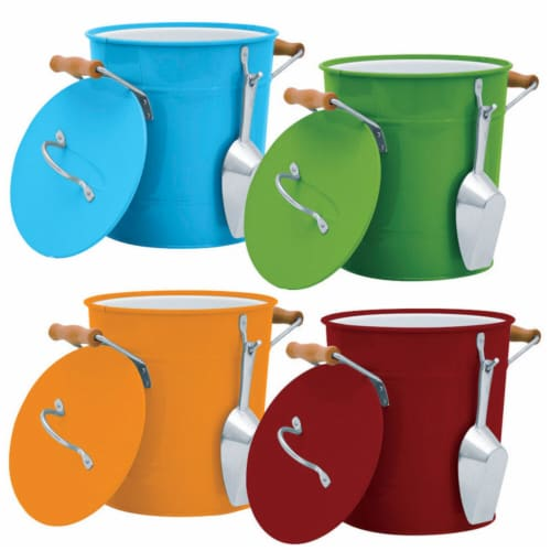 Behrens 1 gal. Multicolored Galvanized Steel Ice Bucket with Scoop - Case Of: 4; Perspective: front
