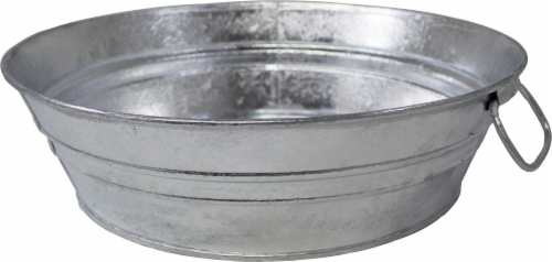 Behrens Hot Dipped Steel Low Flat Tub - Silver Perspective: front