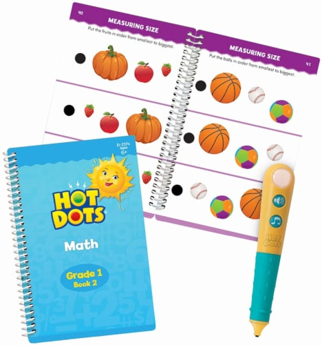 Educational Insights Hot Dots Junior Let's Master Grade 1 Math Set with Hot Dots Pen Perspective: front