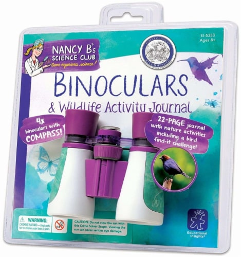 Educational Insights Nancy B's Science Club Binoculars & Wildlife Activity Journal Perspective: front
