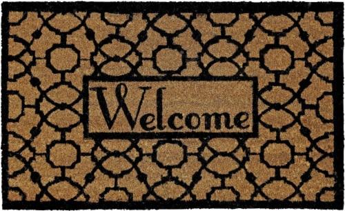 Mohawk Home Oriented Pattern Welcome Doormat - Black Perspective: front