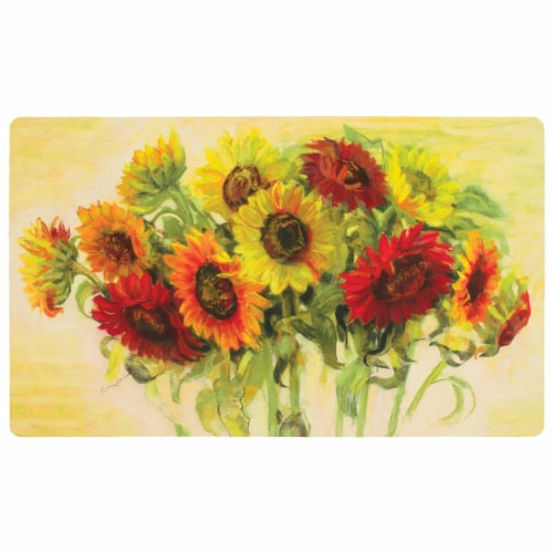 Mohawk Home Gathering Sunflowers Comfort Kitchen Mat Perspective: front