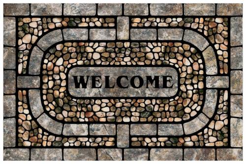 Mohawk Garden Pebble Welcome Doormat - Gray Perspective: front