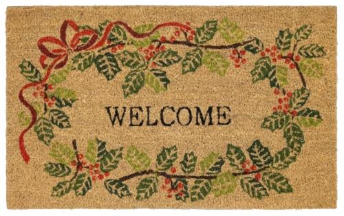 Mohawk Home Welcome Faux Coir Doormat Perspective: front