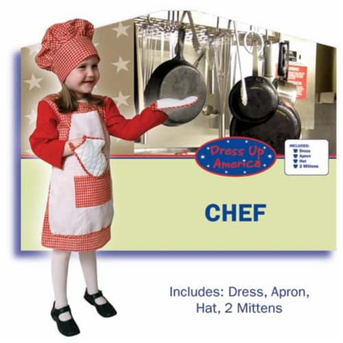 Dress Up America Red Gingham Girl Chef Large 12-14 210-L Perspective: front