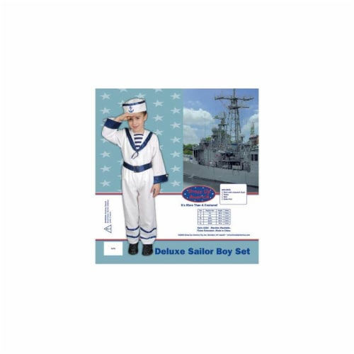 Dress Up America Deluxe Sailor Boy Set Costume Set X-Large 16-18 284-XL Perspective: front
