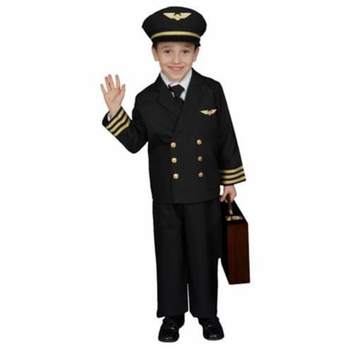 Dress Up America 365-S Pilot Boy Jacket Costume - Size Small 4-6 Perspective: front