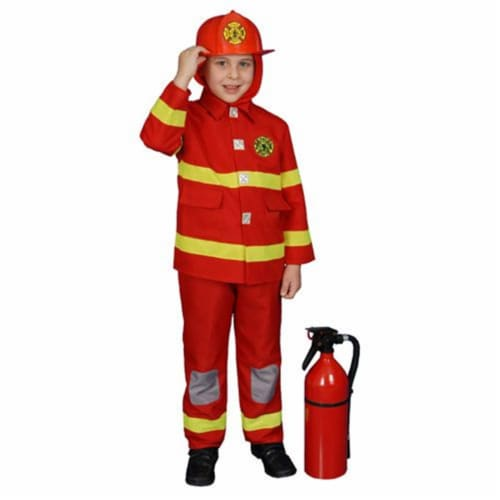 Dress Up America 367-M Boy Fire Fighter Costume in Red - Size Medium 8-10 Perspective: front