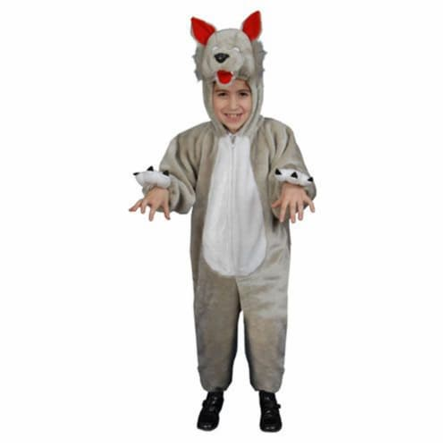 Dress Up America 379-L Kids Plush Wolf Costume - Size Large 12-14 Perspective: front