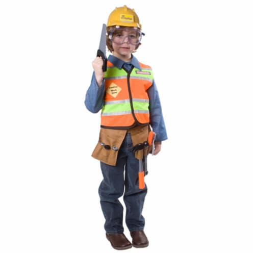 Dress Up America 513-T4 Construction Worker Child Costume - Size T4 Perspective: front