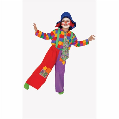 Dress Up America 584-M Colorful Boys Clown - Medium 8-10 Perspective: front