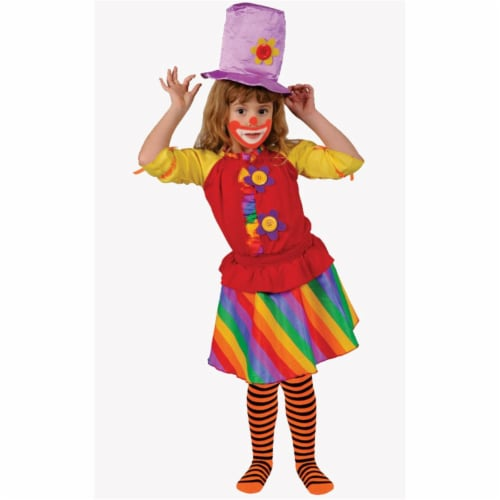 Dress Up America 585-S Rainbow Girls Clown - Size Small 4-6 Perspective: front
