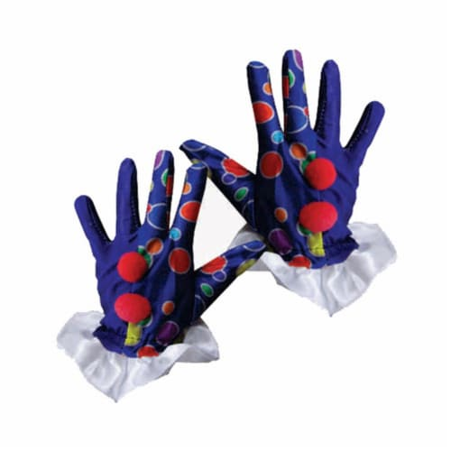 Dress Up America 623-B Blue Clown Gloves Perspective: front