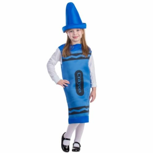 Dress Up America 597-M Blue Crayon Costume, Medium - Age 8 to 10 Perspective: front
