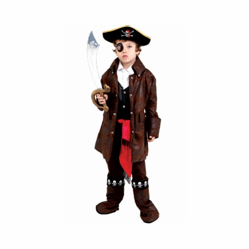 Dress Up America 708-L Large 12-14 Caribbean Boy Pirate Costume Perspective: front