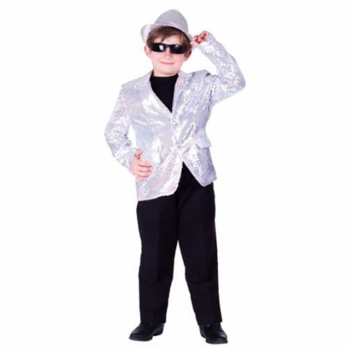 Dress Up America 737-L Kids Silver Sequined Blazer, Large - Age 12 to 14 Perspective: front