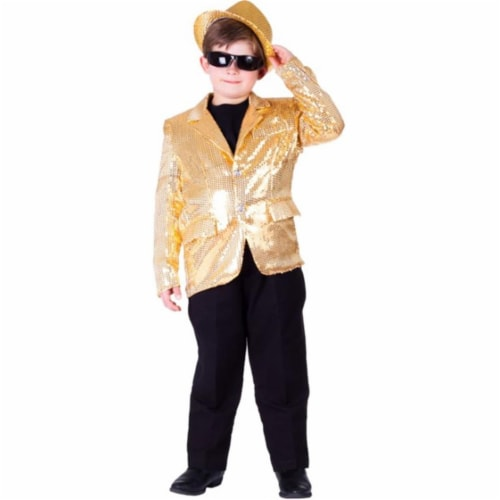 Dress Up America 739-M Kids Gold Sequined Blazer, Medium - Age 8 to 10 Perspective: front