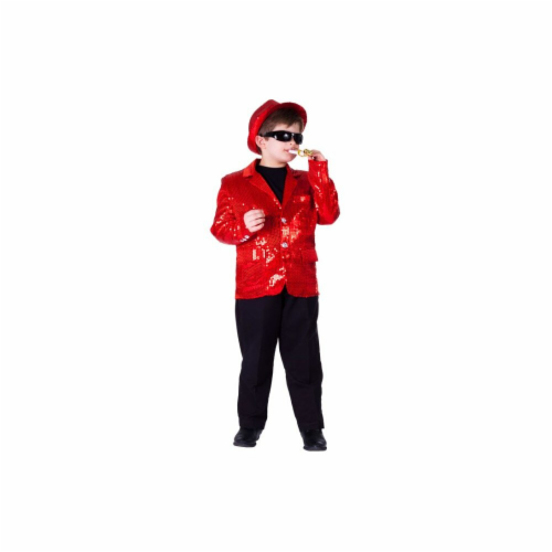 Dress Up America 741-L Kids Red Sequined Blazer, Large - Age 12 to 14 Perspective: front