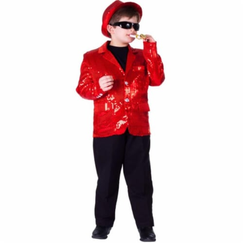 Dress Up America 741-XL Kids Red Sequined Blazer, Extra Large - Age 14 to 16 Perspective: front