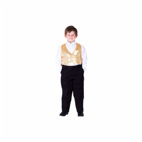 Dress Up America 745-XL Kids Gold Sequined Vest, Extra Large - Age 14 to 16 Perspective: front