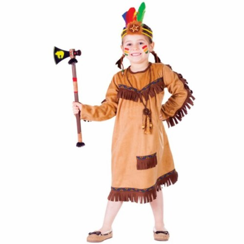 Dress Up America 752-M Brave Native American Girls Costume- Medium - Age 8 to 10 Perspective: front