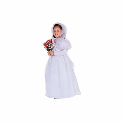 Dress Up America 759-L Shimmering Bride Costume, Large - Age 12 to 14 Perspective: front