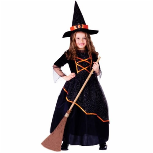 Dress Up America 763-M Black & Orange Witch Girls Costume, Medium - Age 8 to 10 Perspective: front