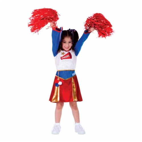 Dress Up America 765-S American Cheerleader Girls Costume, Small - Age 4 to 6 Perspective: front
