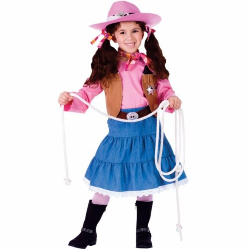 Dress Up America 773-S Junior CowGirl Costume, Small - Age 4 to 6 Perspective: front