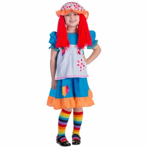 Dress Up America 775-T4 Rainbow Rag Doll Costume, T4 Perspective: front