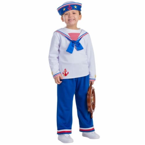 Dress Up America 776-S Sailor Boys Costume, Small - Age 4 to 6 Perspective: front