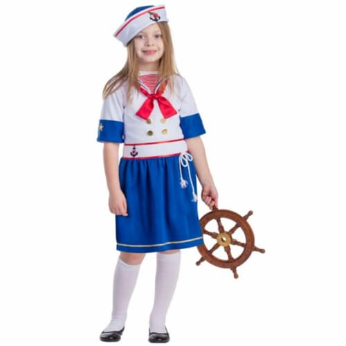 Dress Up America 777-M Sailor Girls Costume, Medium - Age 8 to 10 Perspective: front